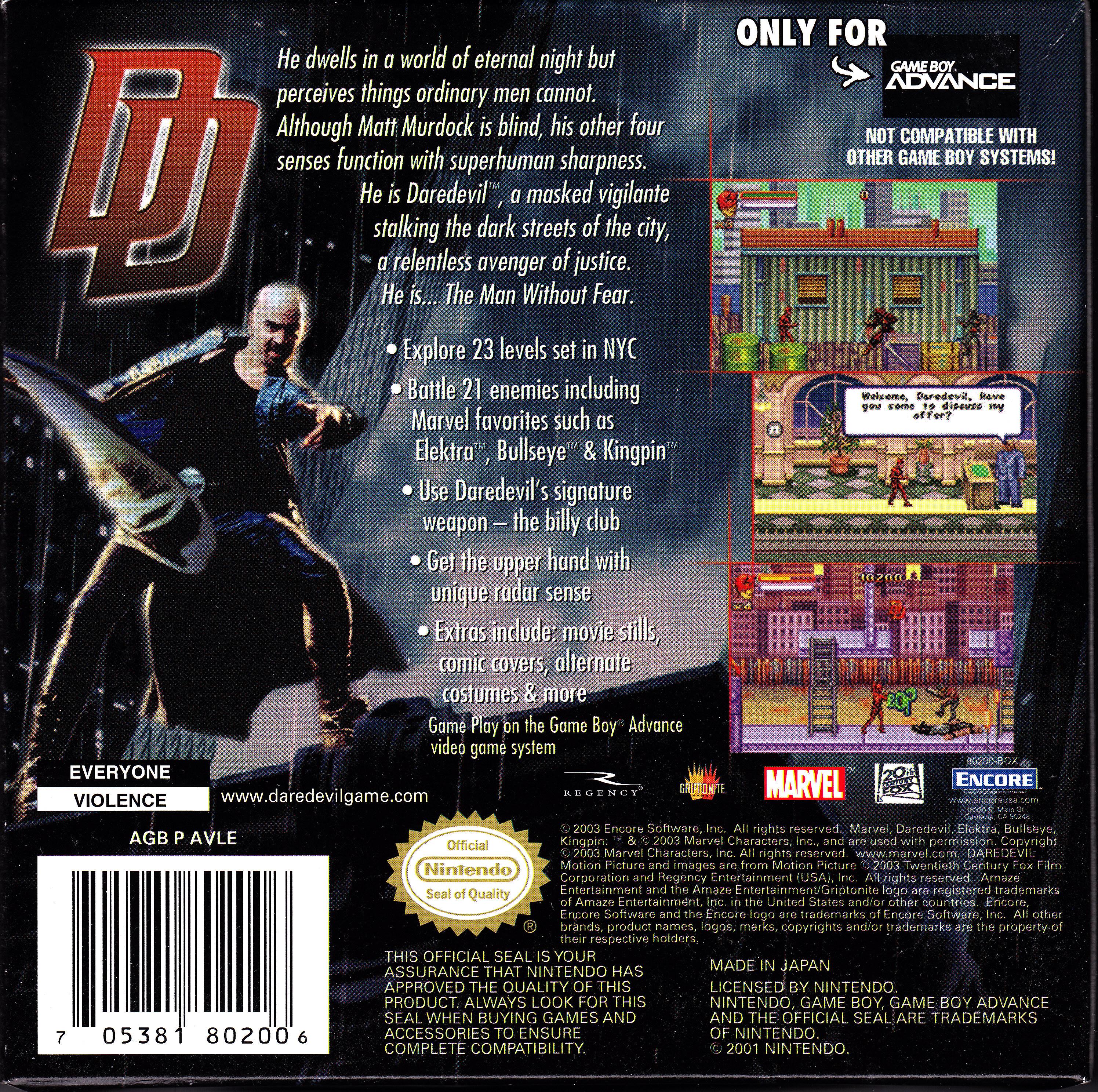Daredevil Game Boy Advance Game Boy Advance Daredevil