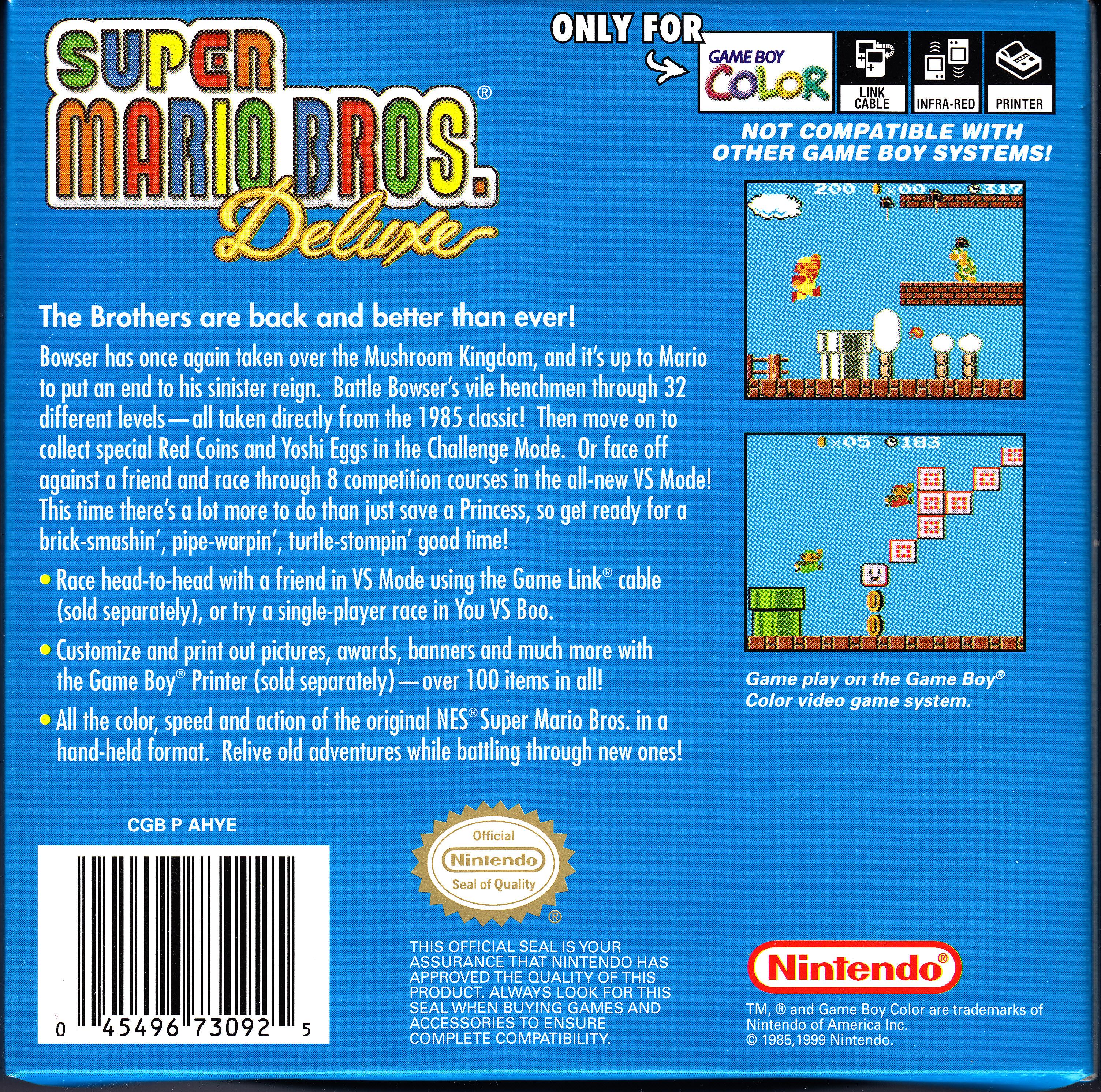 Game boy color super mario bros deluxe -  Game Boy Color Super Mario Bros Deluxe Back Cover Jpg