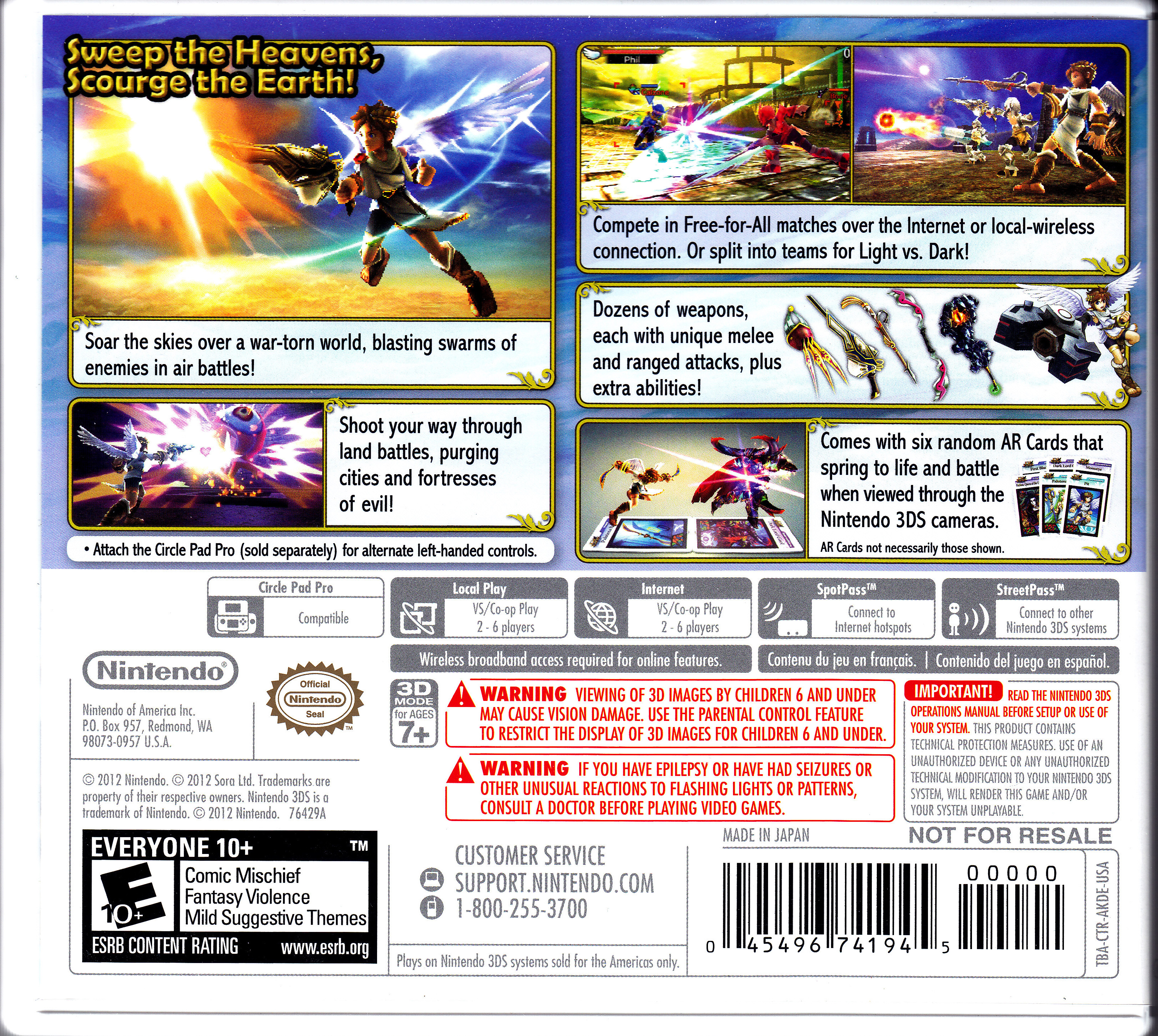 Nintendo 3DS Kid Icarus Uprising Back Cover