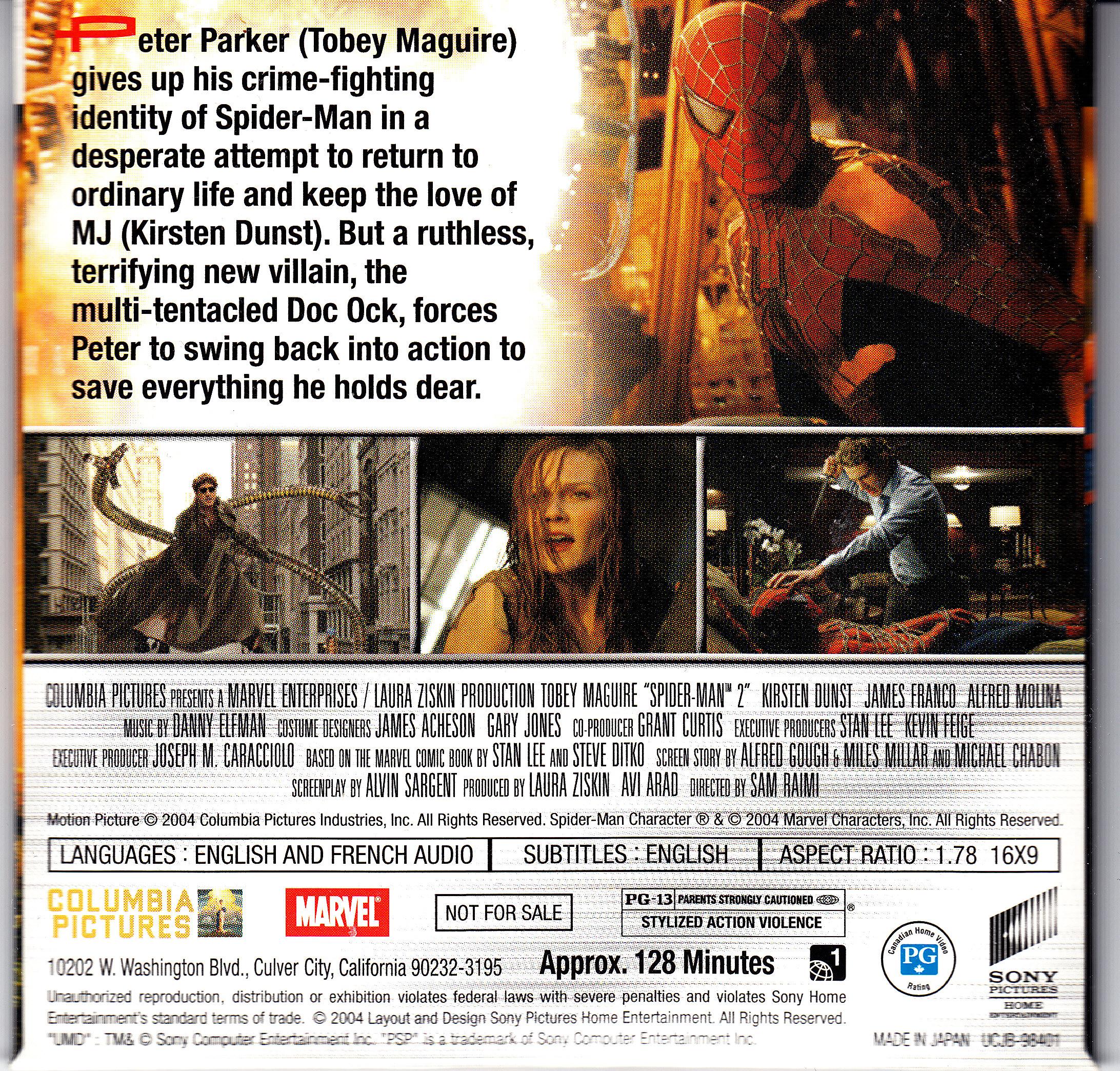 PSP UMD Movie Spider Man 2 Back Cover