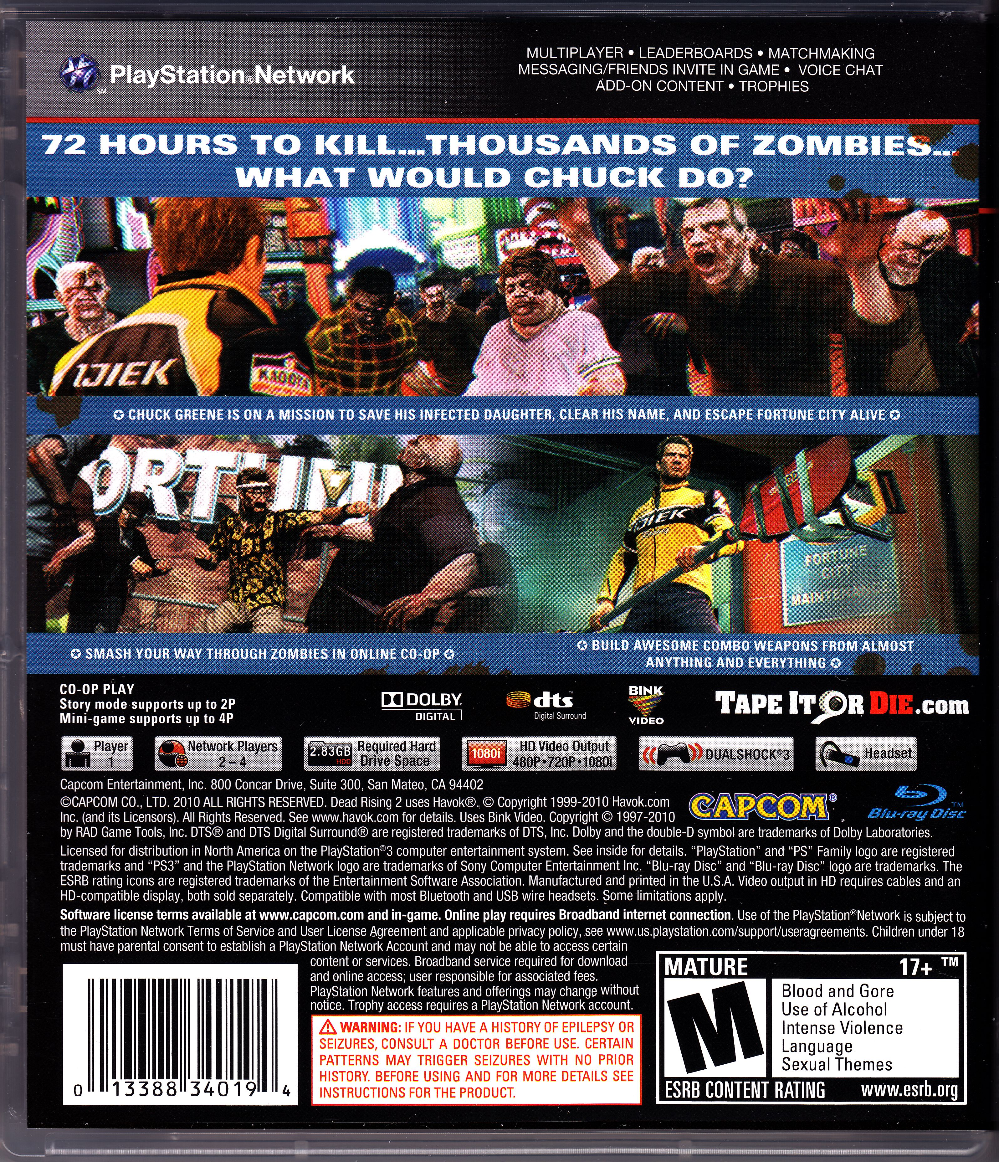 Back Rise 3 Dead Rising 2 Back Cover