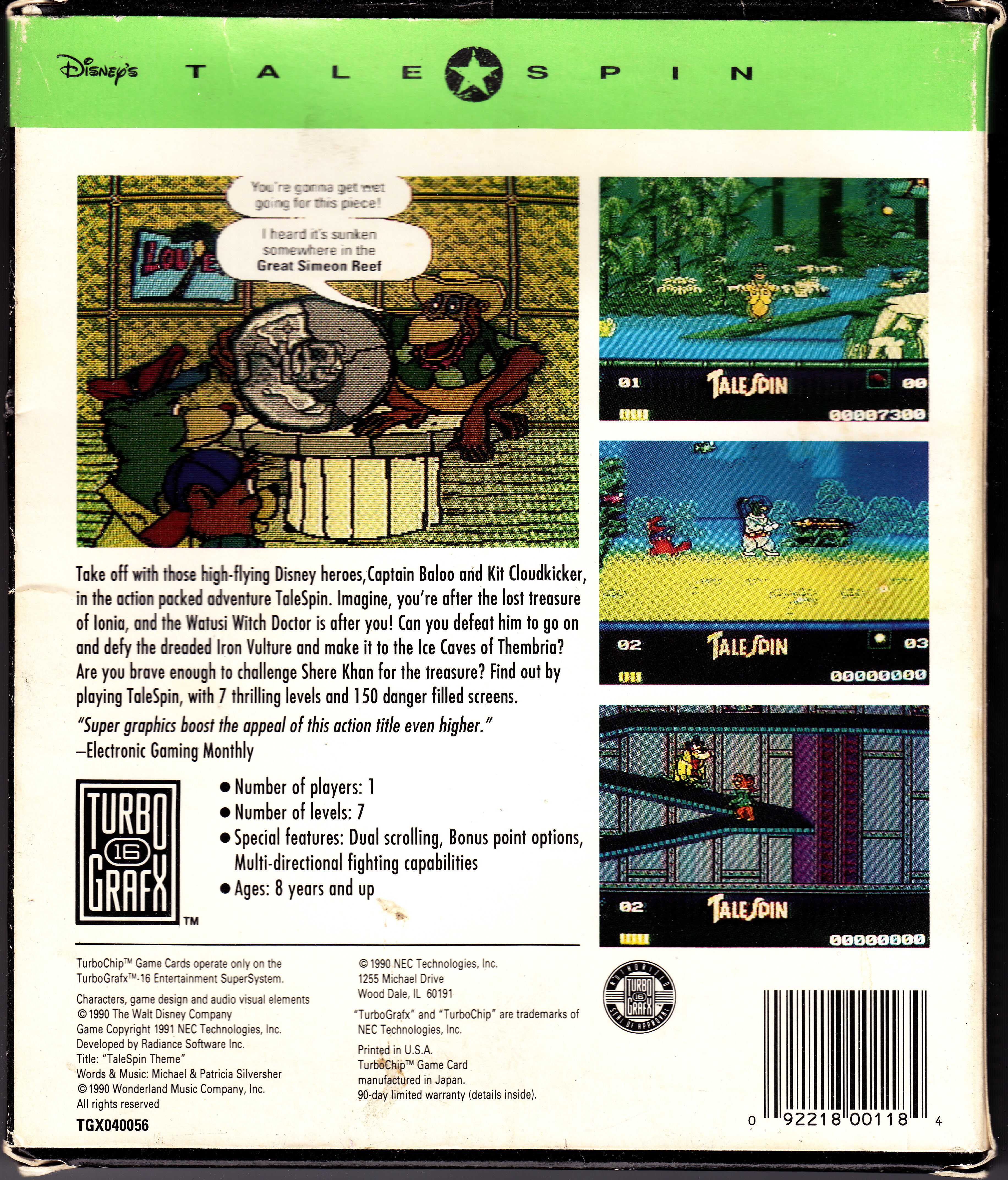 Super Baloo/Talespin (Playmates et autres) 1991 Turbo%20Grafx-16%20Tale%20Spin%20Back%20Cover